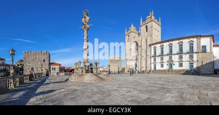Porto, Portugal. Cathedral or Se Catedral and the Pillory in the Cathedral Square aka Terreiro da Se. Romanesque - Stock Photo