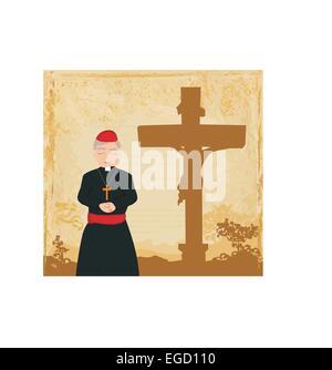 priest prays by the cross, grunge background - Stock Photo