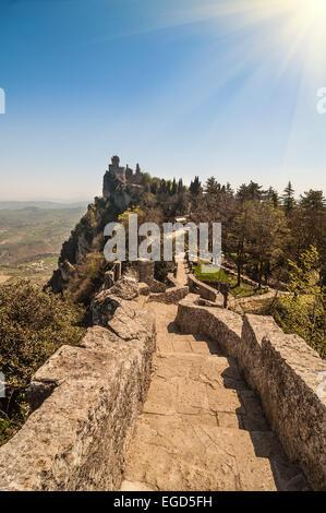 Fortress of Guaita (Rocca della Guaita), castle in San Marino Republic - Stock Photo