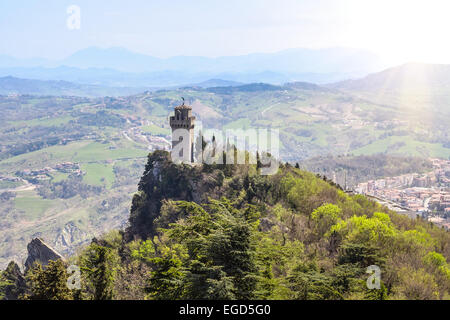 Panoramic view of a small tower Montale from the fortress Guaita, Monte-Titano, San Marino - Stock Photo