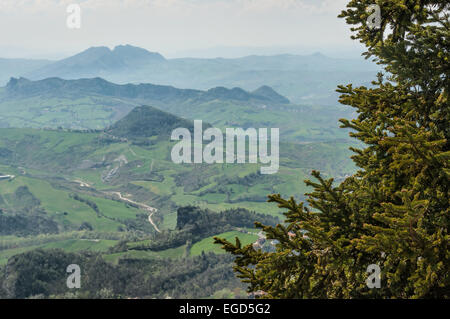 Panoramic view of the italian hills from the fortress of San Marino with spruce in the foreground. - Stock Photo