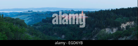 Abbey of Monte Oliveto Maggiore, Benedictine monastary near Asciano, Val d'Orcia, Orcia valley, UNESCO World Heritage - Stock Photo