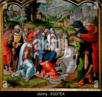 The Raising of Lazarus 1530 Aertgen ( Aertgen van Leyden ) Claesz 1498-1564  Dutch Netherlands Medieval Middle Ages - Stock Photo