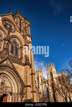 St Wilfrid's Catholic Church and York Minster, York, North Yorkshire, England, UK. - Stock Photo