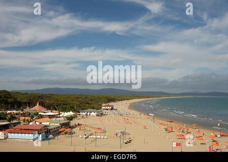 Coastal landscape and beach, Cala Galera, Tombolo di Feniglia, Mediterranean Sea, near Porto Ercole, Monte Argentario, - Stock Photo