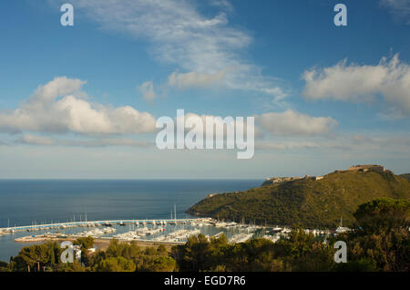 Marina and fortress at Porto Ercole, Mediterranean Sea, Monte Argentario, province of Grosseto, Tuscany, Italy, - Stock Photo