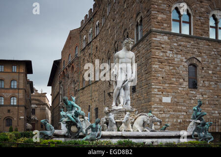 Fontana de Nettuno, Fountain of Neptune in front of the Palazzo Vecchio, Piazza della Signoria square, historic - Stock Photo