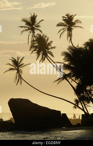 Beach of Unawatuna, Galle District, Southern Province, Sri Lanka - Stock Photo