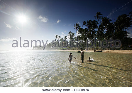 Beach of Unawatuna, Southern Province, Sri Lanka - Stock Photo