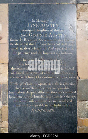 Jane Austen 's grave stone memorial in the Nave of Winchester Cathedral. UK. (75) - Stock Photo