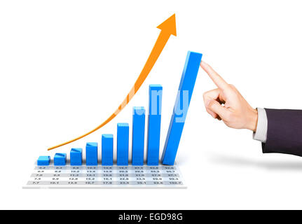 Rising chart with hand pushing the tallest bar - Stock Photo