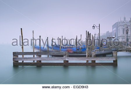 Gondolas near Piazza San Marco, Venice, Italy - Stock Photo