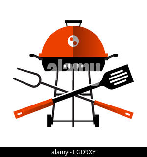 grill, barbecue, barbeque. utensils for BBQ on white background - Stock Photo