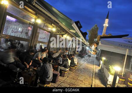 Cafe in Bascarsija in the old town, Sarajevo, Bosnia and Herzegovina - Stock Photo