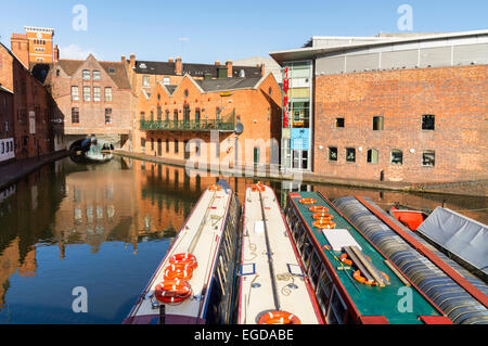 Narrowboats moored up in Gas Street basin Birmingham UK - Stock Photo