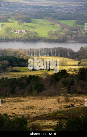 View of Rivington reservoir from Rivington Pike, near Bolton, Lancashire. Picture by Paul Heyes, Tuesday February - Stock Photo