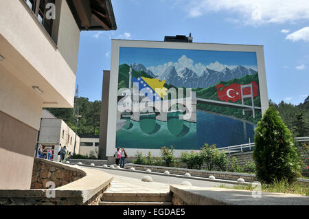 School in Konjic at the river Neretva, Bosnia and Herzegovina - Stock Photo
