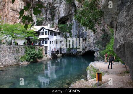 Dervish house near the source of the Buna river, Blagaj near Mostar, Bosnia and Herzegovina - Stock Photo