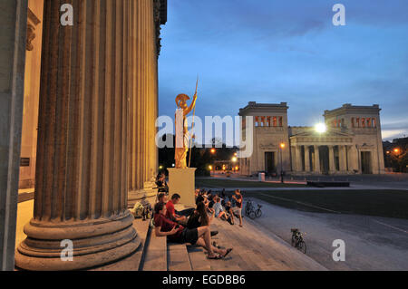 In the evening on Koenigsplatz square, Munich, Bavaria, Germany - Stock Photo