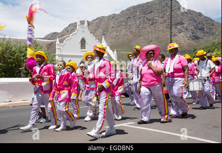 Colourful marching band in Franschhoek Western Cape South Africa - Stock Photo
