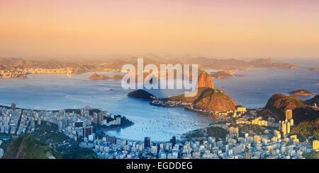 Brazil, Rio de Janeiro, View of Sugarloaf and Rio de Janeiro City - Stock Photo