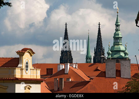 ... The Spires Of St. Vitus Cathedral, Prague, Czech Republic, Europe    Stock