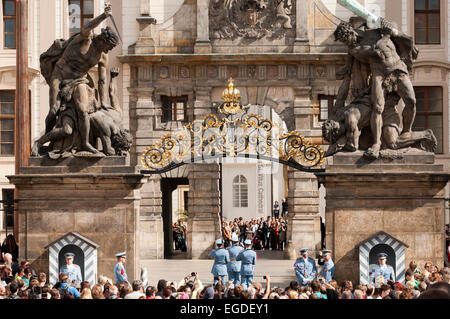 Changing of the guard at Prague Castle, Prague, Czech Republic, Europe - Stock Photo