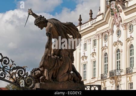 Detail of a sculpture at Prague Castle, Prague, Czech Republic, Europe - Stock Photo