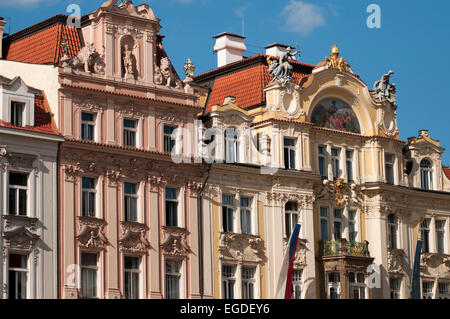Magnificent houses framing the Old City Square, Prague, Czech Republic, Europe - Stock Photo