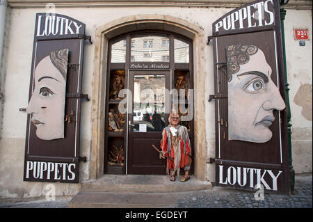 Puppet shop in the old city of Prague, Prague, Czech Republic, Europe - Stock Photo