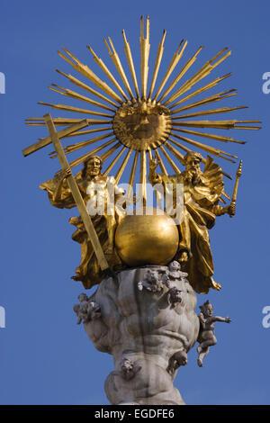 Top of the baroque Holy Trinity column, also called plague column, Hauptplatz, Linz, Upper Austria, Austria - Stock Photo