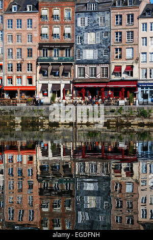 Vieux Bassin is the old part of the harbour, Honfleur, Lower Normandy, Normandy, France - Stock Photo