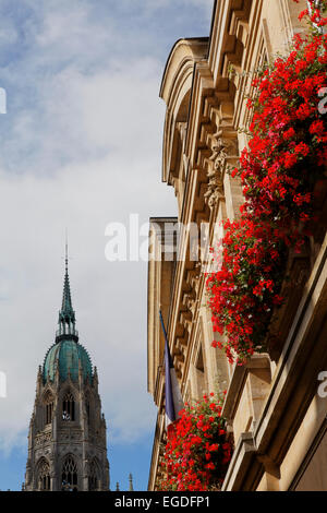 Facade of the town hall, Hotel de Ville and steeple of the cathedral, Bayeux, Lower Normandy, Normandy, France - Stock Photo