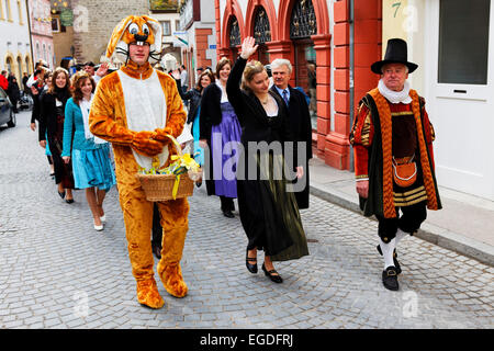 Easter parade, Volkach, Lower Franconia, Bavaria, Germany - Stock Photo