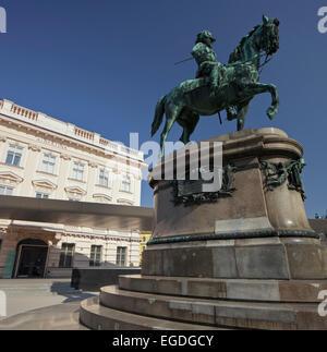 Equestrian statue of Franz Josef I., Albertina, 1st municipal District , Vienna, Austria - Stock Photo