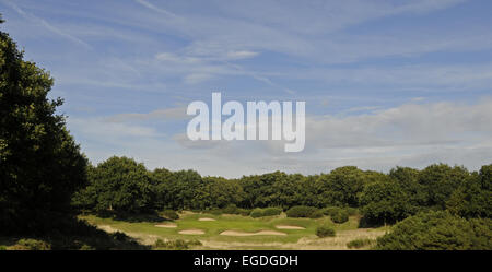 View from the Tee of the 12th Hole with many bunkers Orsett Golf Club Essex England - Stock Photo