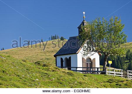 Postalm chapel, Postalm, Salzkammergut, Salzburg Land, Austria - Stock Photo