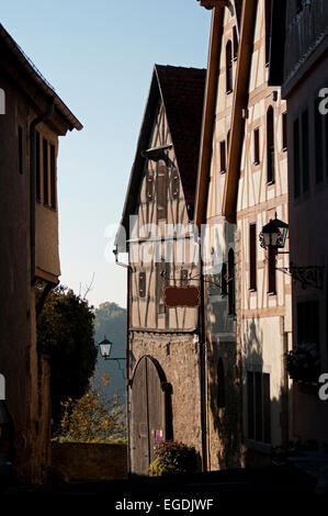 Old Tudor style houses in the historic city centre, Rothenburg ob der Tauber, Middle Franconia, Franconia, Bavaria, - Stock Photo