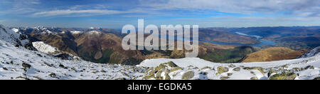 Panorama with view from Ben Nevis to Loch Linnhe, Ben Nevis, Highland, Scotland, Great Britain, United Kingdom - Stock Photo
