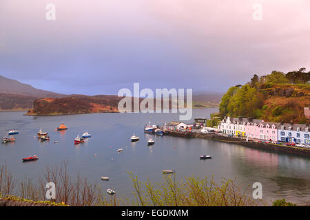 Town of Portree with harbor, Portree, Isle of Skye, Scotland, Great Britain, United Kingdom - Stock Photo