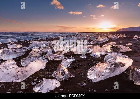 Icebergs and ice on Jokulsarlon black beach at sunset Jokulsarlon Iceland - Stock Photo