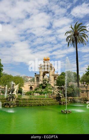 Fountain in Parc de la Ciutadella, city park, La Ribera, Barcelona, Catalonia, Spain - Stock Photo