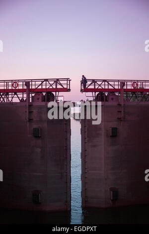 Lock 1 on the Moscow-Volga Canal, Moscow-Volga Canal, near Uglich, Russia, Europe - Stock Photo