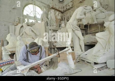Marble sculptures in Workshop Studi di Scultura Nicoli, Carrara, Tuscany, Italy - Stock Photo