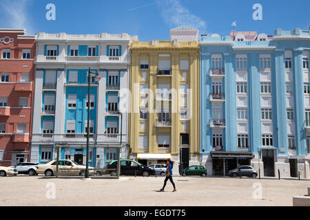 Colorful houses across from Praca de Touros do Campo Pequeno (Campo Pequeno Bullring), Lisbon, Lisboa, Portugal - Stock Photo