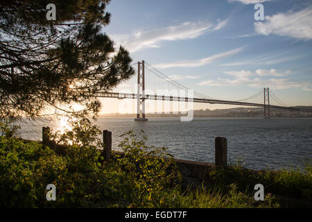 Ponte 25 de Abril bridge over Tagus river seen from Almada, Almada, Almada (near Lisbon), Portugal - Stock Photo