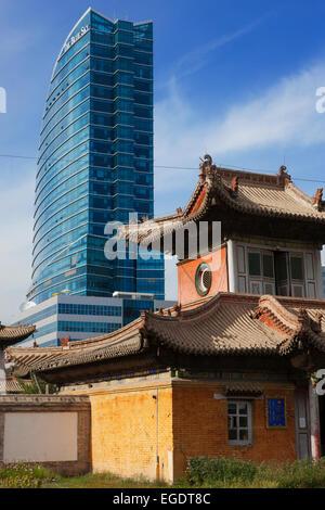 Choijin Lama Temple and Blue Sky Tower, Ulaanbaatar, Mongolia - Stock Photo
