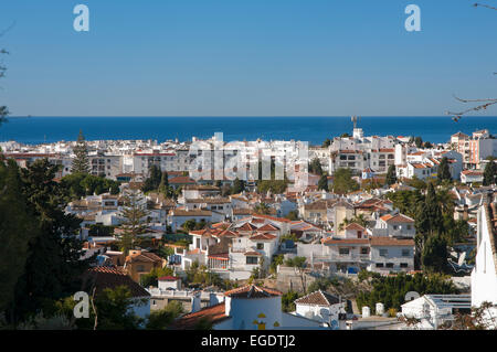 Panoramic view, Nerja, Malaga province, Region of Andalusia, Spain, Europe - Stock Photo