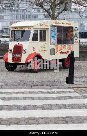 Vintage ice cream Van by a Zebra crossing in Liverpool England - Stock Photo