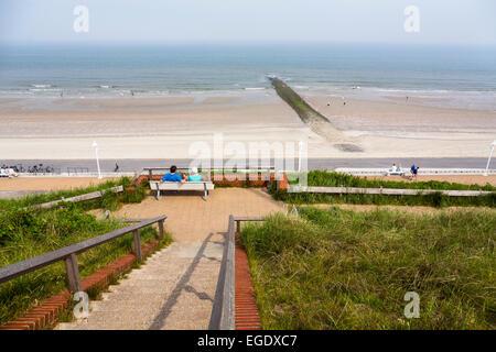 Georgshoehe and boardwalk, seafront on Norderney Island, Nationalpark, North Sea, East Frisian Islands, East Frisia, - Stock Photo